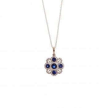 Ladies .320 Ctw Sapphire Pendant / Rose Gold 14 Kt.