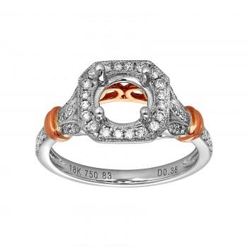 18k Two-Tone Rose Gold .38ctw Diamond Halo Semi-Mount