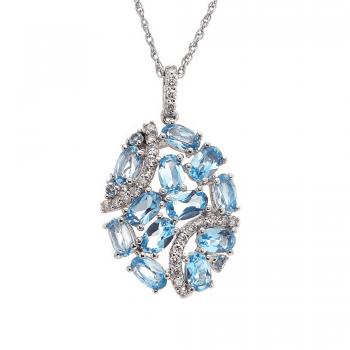 Ladies Blue Topaz Pendant / Silver