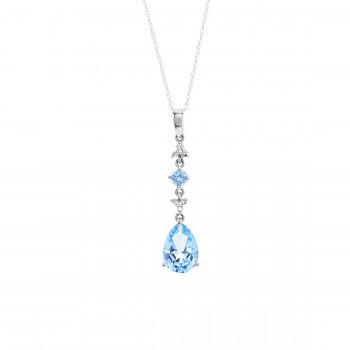 10kw 2.71ctw Blue Topaz and .05ctw Diamond Pendant