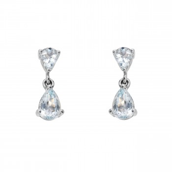 Ladies 1.740 Ctw Aquamarine Earrings / 14 Kt W