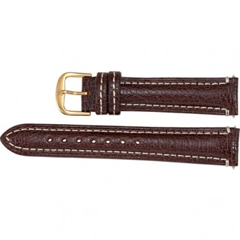 24mm Regular Brown Leather Matte Finish Heavy Padded Strap