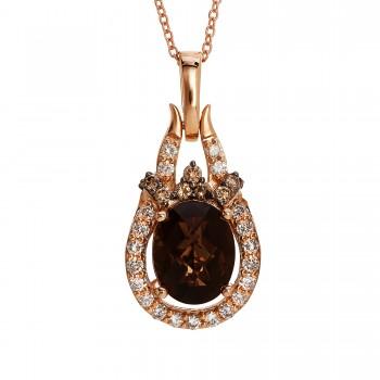 Ladies .670 Ctw Quartz Pendant / Rose Gold 14 Kt.