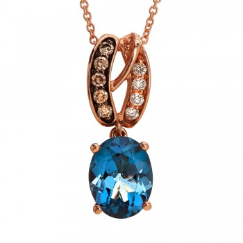 Ladies .130 Ctw Blue Topaz Pendant / Rose Gold 14 Kt.