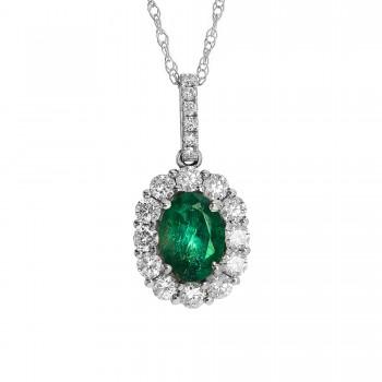 Ladies .720 Ctw Emerald Pendant / 18 Kt W