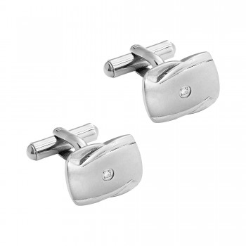 Gents .030 Ctw Stainless Cuff Links / Stainless
