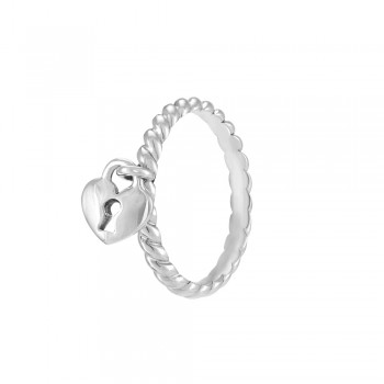 Heart Lock Silver Stackable Ring