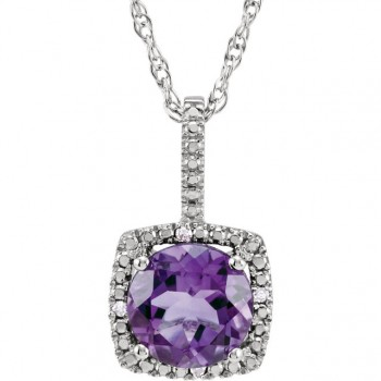 Sterling Silver 7mm Amethyst and .003ctw Diamond Pendant