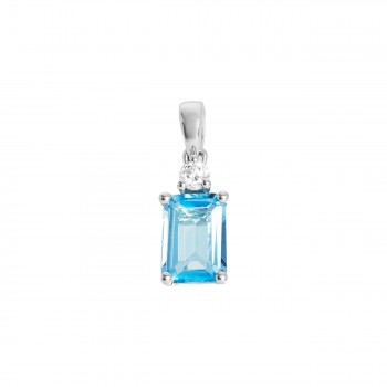 Ladies Blue Topaz Pendant / 14 Kt W