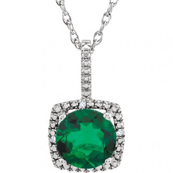 Sterling Silver Lab Grown Emerald and Diamond Pendant