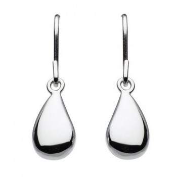 Silver single pebble earrings