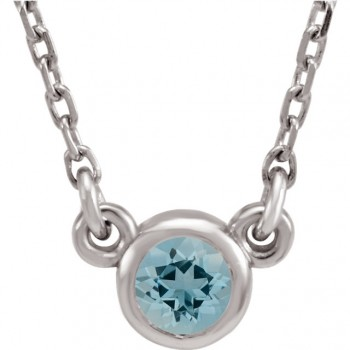 Imitation Aquamarine Necklace / Sterling Silver