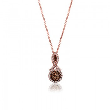 Ladies .460 Ctw Diamond Pendant / Rose Gold 14 Kt.