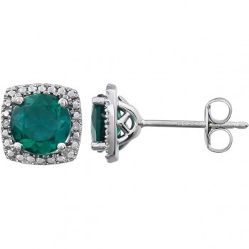 Sterling Silver Lab Grown Emerald and Diamond Earrings