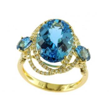 Effy 14ky 8.15ctw Blue Topaz and .37ctw Diamond Ring