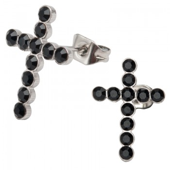 Inox Black Crystal Cross Earrings