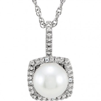 Sterling Silver 7mm Pearl and Diamond Pendant