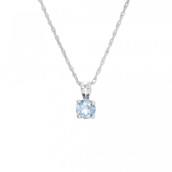 Ladies Aquamarine Pendant / 14 Kt W