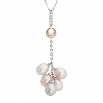 Ladies Pearl Pendant / 2-Tone 18 Kt.