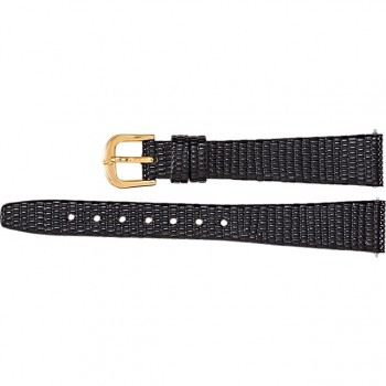 14mm Regular Black Leather Flat Lizard Grain Strap