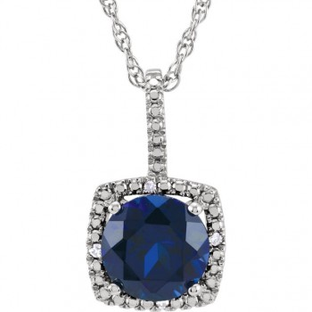 Sterling Silver Lab Grown Blue Sapphire and Diamond Pendant
