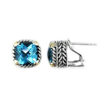 EFFY Sterling & 18ky 7.60ctw Blue Topaz Earrings