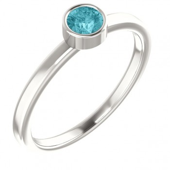 Imitation Blue Zircon Ring / Sterling Silver