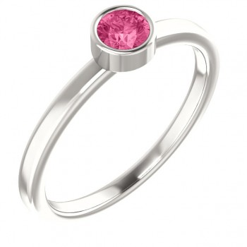 Imitation Pink Tourmaline Ring / Sterling Silver