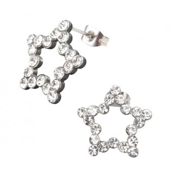 Inox Stainless Steel Crystal Star Earrings
