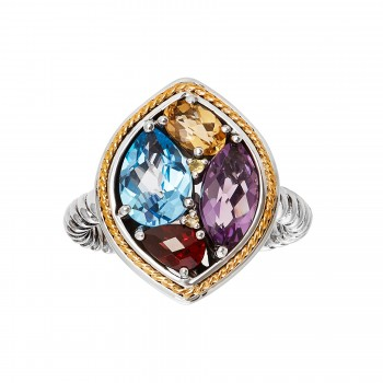 EFFY Ladies Multi-Stone Ring / Silver & 18 Kt.
