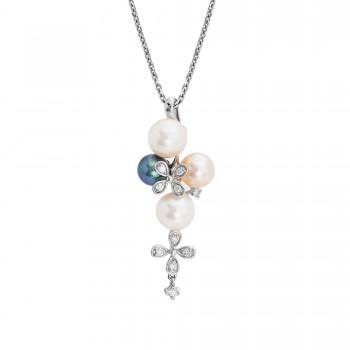 Ladies .080 Ctw Pearl Pendant / 18 Kt W