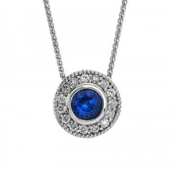 Ladies .330 Ctw Sapphire Pendant / 14 Kt W