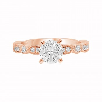 Ladies .200 Ctw Diamond Semi-mount / Rose Gold 14 Kt.